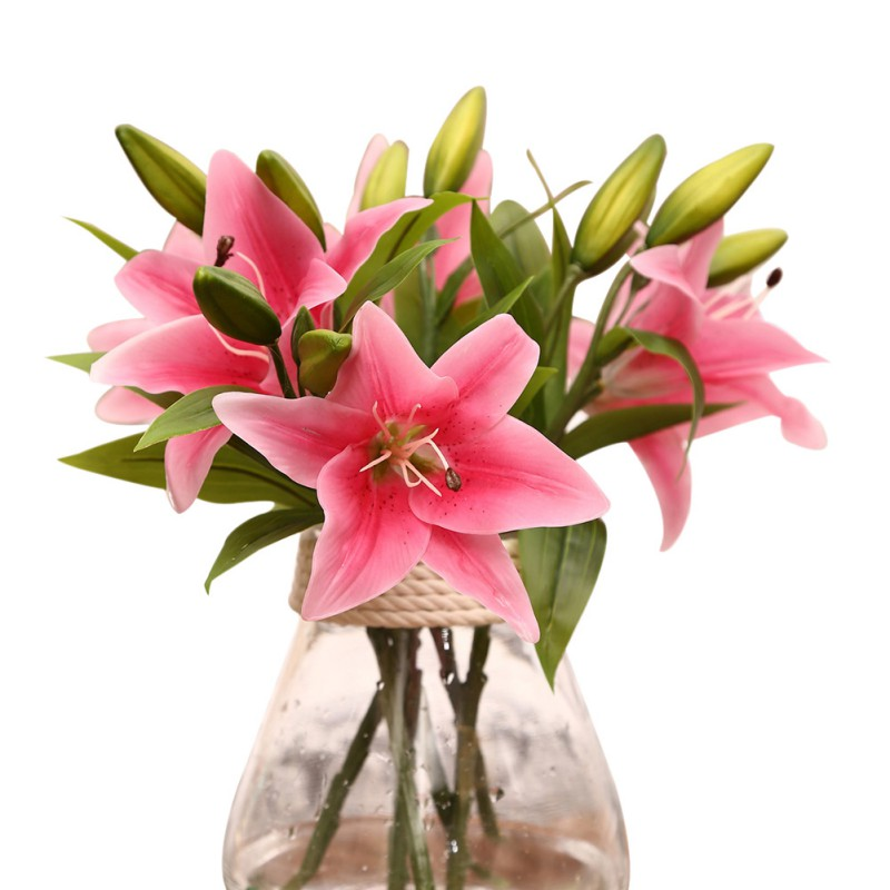 Real Touch Lily Flowers Latex Artificial 3 heads Artificial Flowers Bouquets new House Home Wedding Festival Decoration LH8s