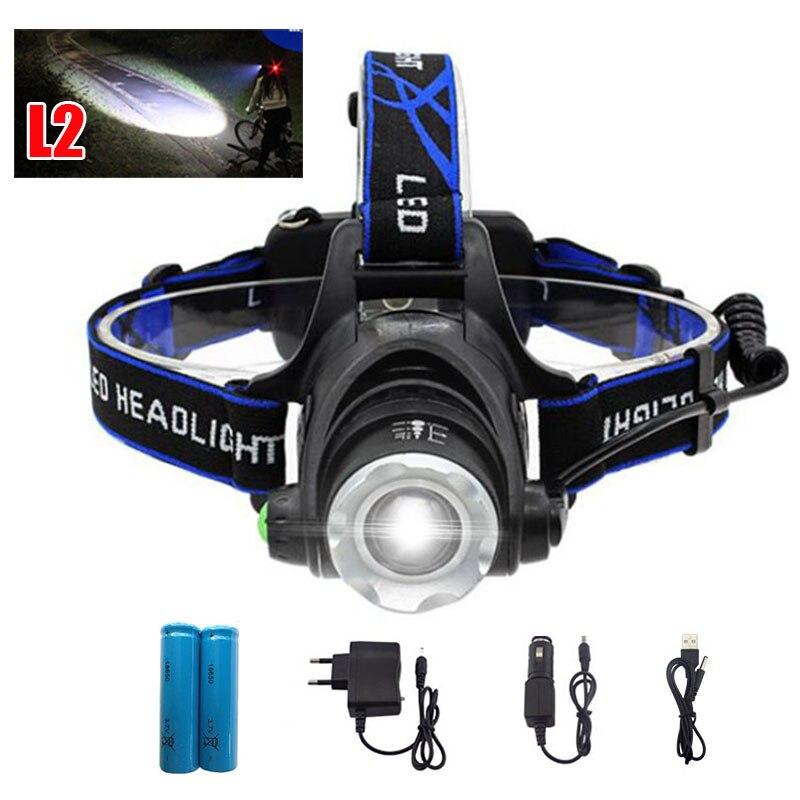cree XM L2 <font><b>led</b></font> headlamp frontal flashlight torch high bright headlight head light lamp frontale +18650 battery +AC /CAR charger