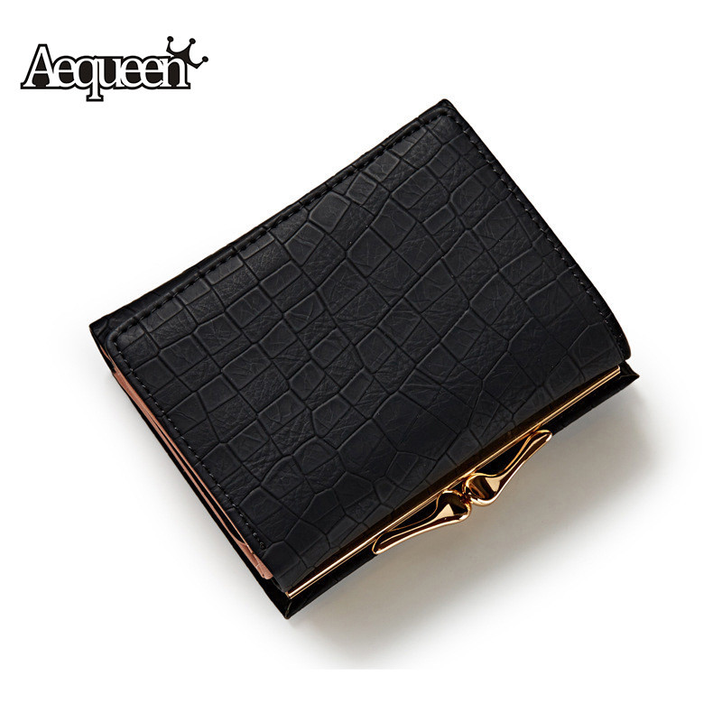 AEQUEEN Crocodile Leather Gril Wallet Women Short Purses Lady Coin Purse Fashion Stone 3 Fold Wallets Girl ID Card Holders Brand