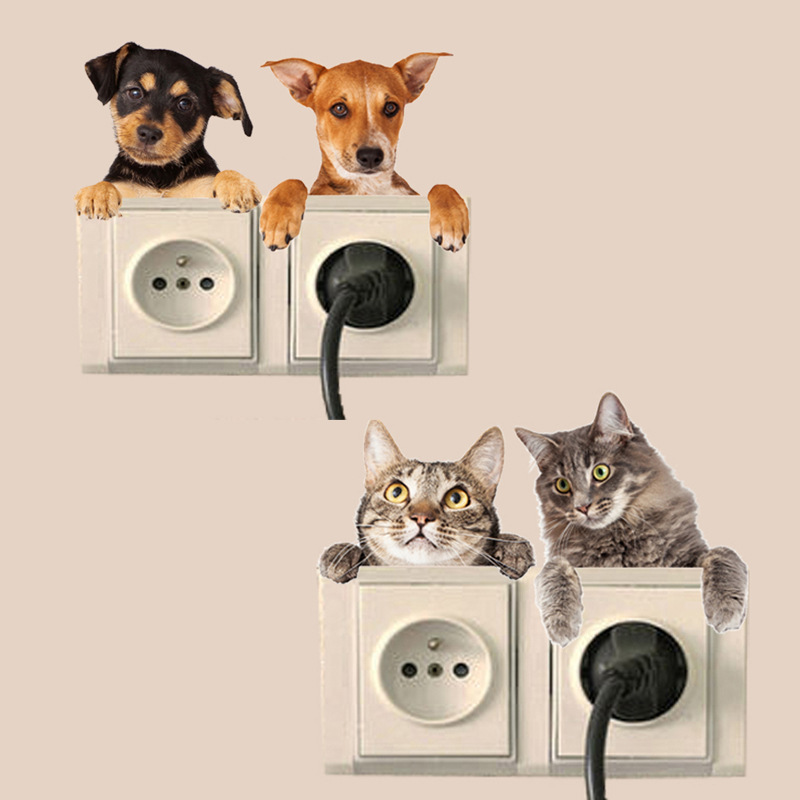 3d Four Computer Cat Dog Vivid Wall Sticker Bathroom Switch Decor Kids Gift Kitchen Decal