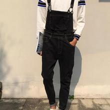 Кенгуру карман джинсовые комбинезоны 2016 новинка качества Harajuku черный брюки-карго бесплатная доставка