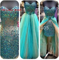 Sexy Long Mermaid Prom Dresses 2 Pieces Evening Party Gowns Prom Beading Crystals Unique Prom Dress