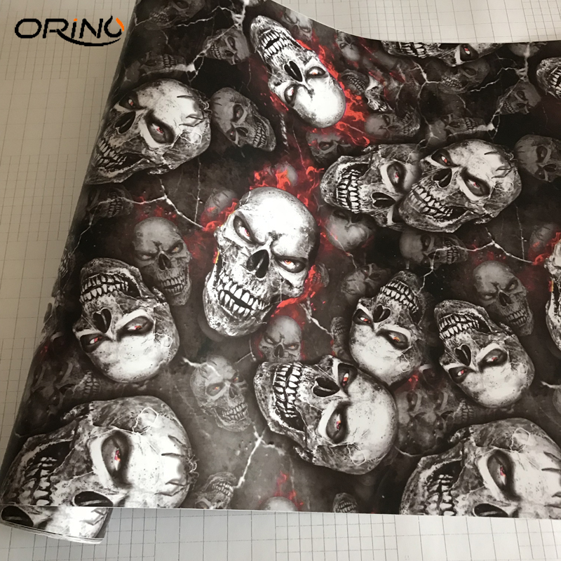 PVC Graffiti Adhesive Skull Sticker Decal Camouflage Sticker Bomb Vinyl Film Foil Car Motorcycle Roof Hood Film Wrap