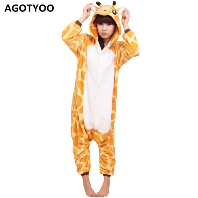 2e6933e6e9 AGOTYOO Donne Inverno Pajama Set Animale Sveglio One Piece Pigiama Giraffa  Del Fumetto Degli Indumenti Con