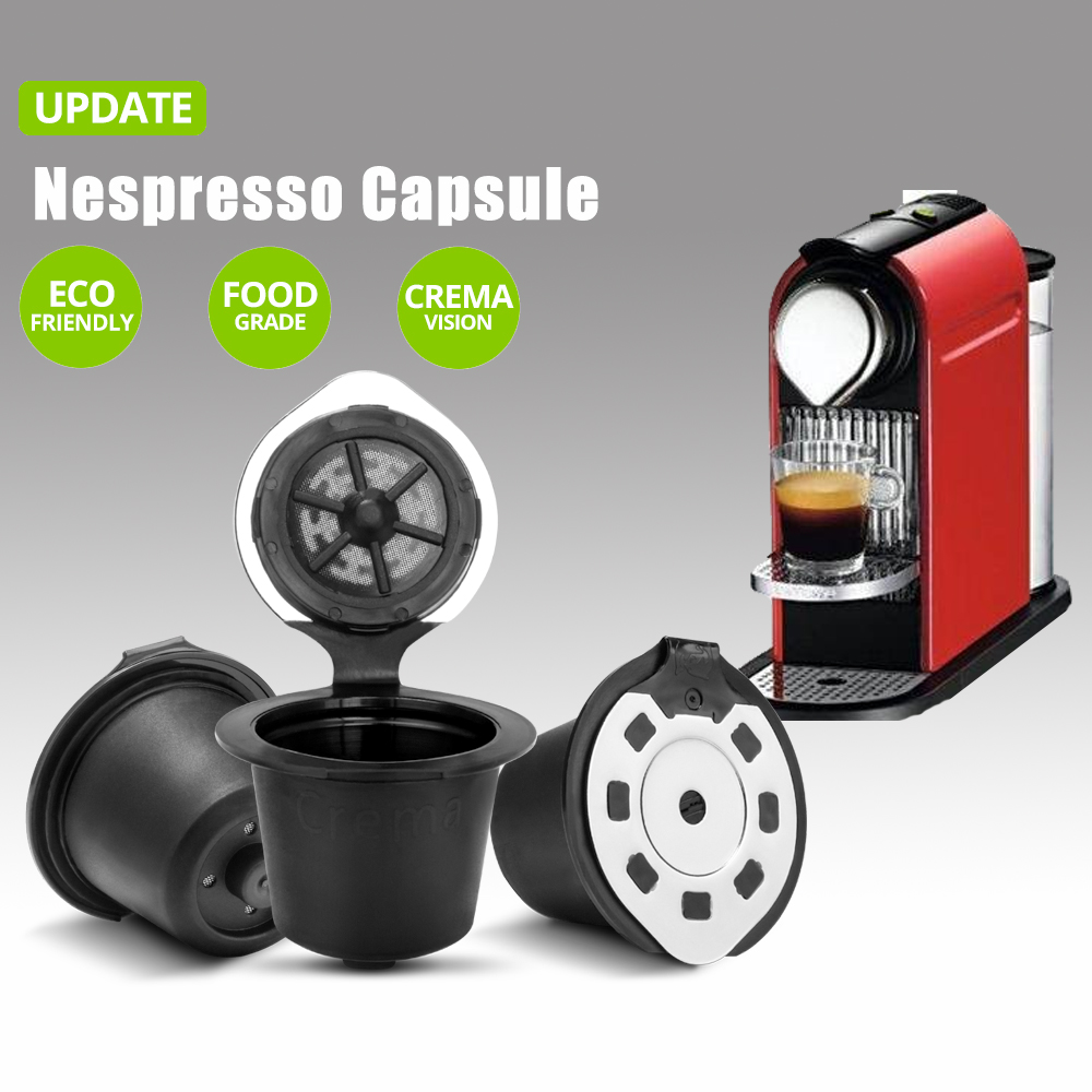 Upgraded Version Coffee Capsules Filter Cup Refillable Reusable Coffee Capsule Pods For Nespresso Machines Spoon Tea Baskets