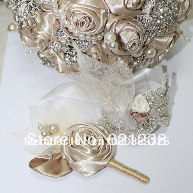 Holding champagne wedding flower brooch bouquet includes a ...