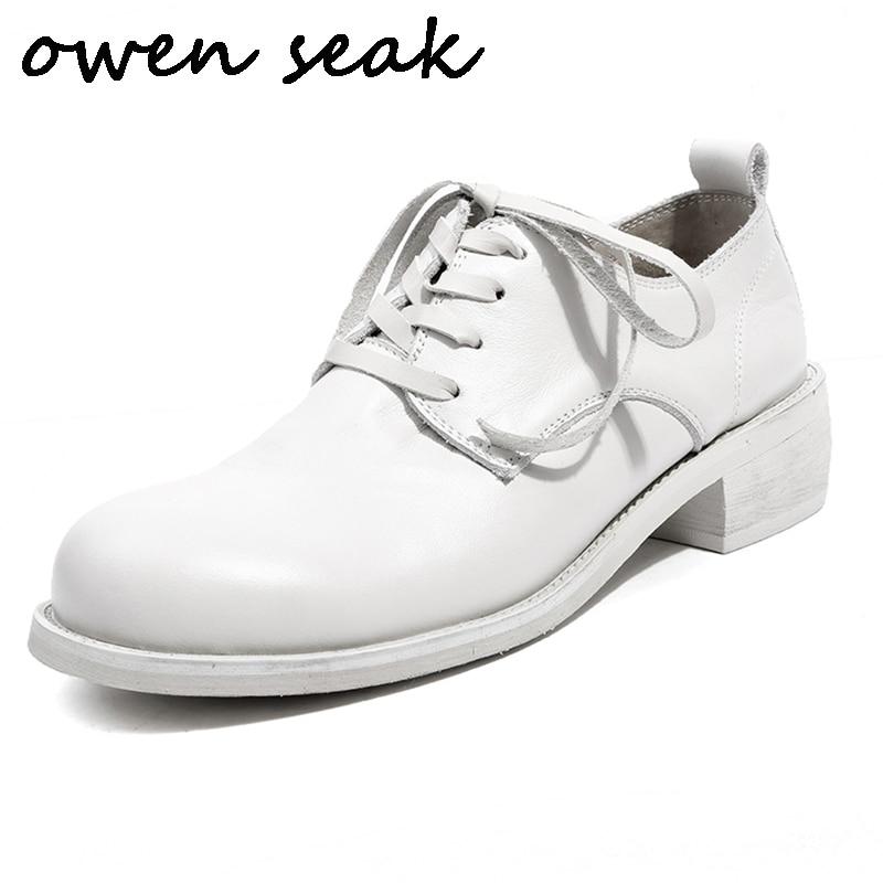 Owen Seak Women Casual Shoes Sheepskin Leather Retro Pumps Luxury Trainers Sneaker Lace Up Riding Black