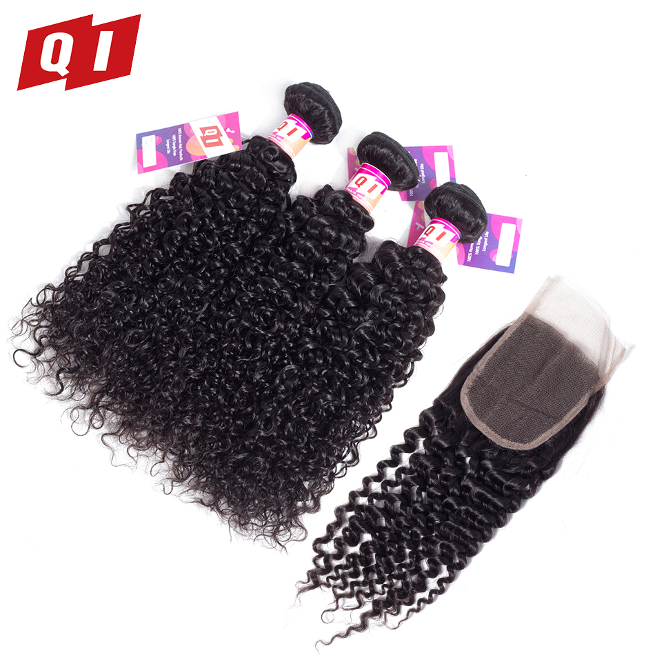 QI Hair 100% Peruvian Kinky Curly Human Hair Weaves Natural Color Non Remy Hair 3 Bundles With 4*4 Lace Closure