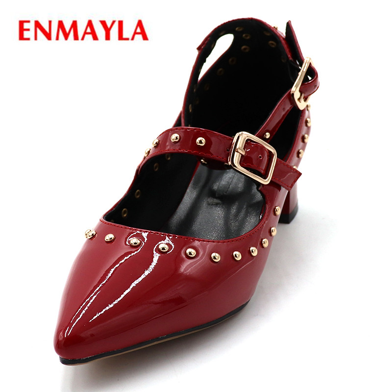 ENMAYLA Med Heels Shoes Woman Pointed Toe Pumps Women Buckle Strap Summer Shoes Ladies Shoes Square Heels Fashion Shoes shofoo newest women shoes med heels pointed toe pumps for woman dress