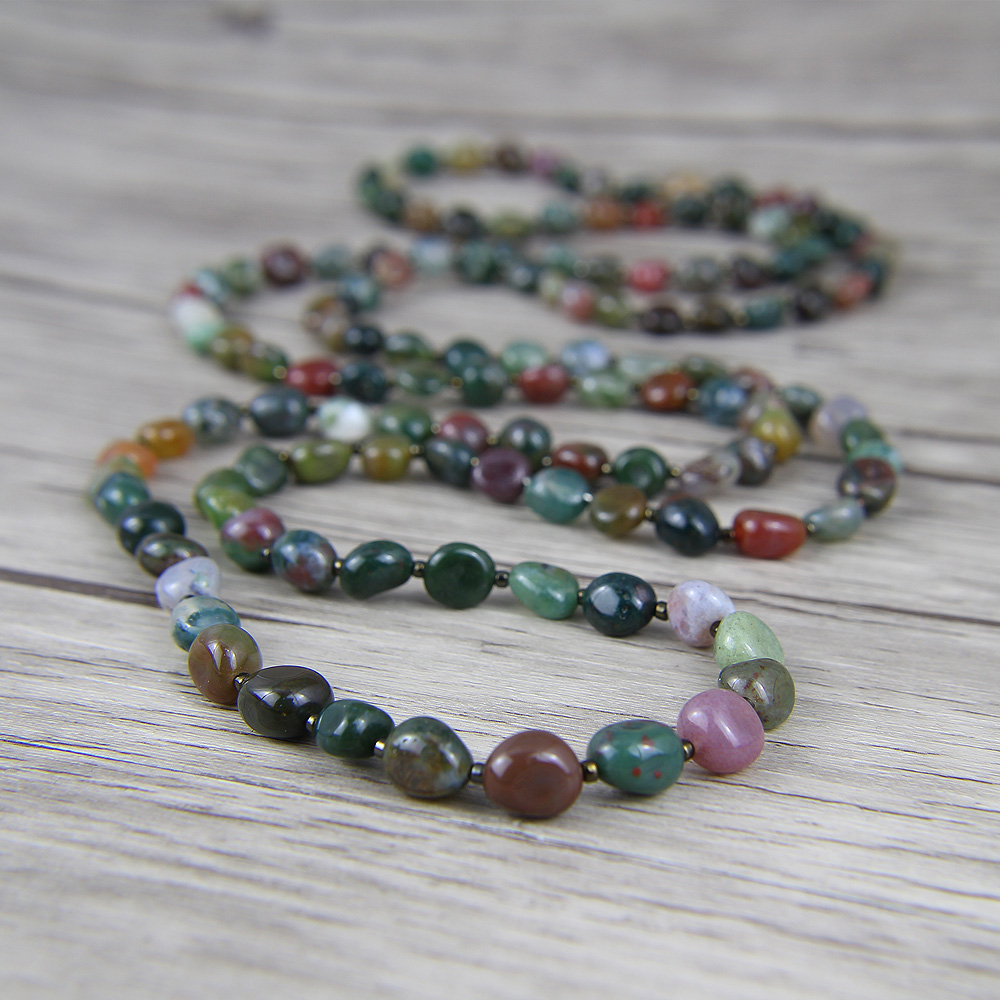 Long Indian natural stone beads necklace boho wrap bead necklace long beads lariat necklace yoga
