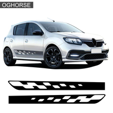 2 Pcs Car Door Side Stripe Skirt Sticker Racing Flag Sport Graphics Styling Decal For Renault Dacia Sandero RS Accessories