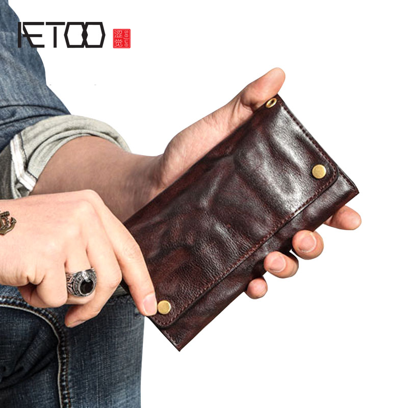 AETOO Retro wallet men's long section youth tide ultra-thin soft multi-card leather Japan and South Korea personality full leath 0 free shipping creative personality skull graffiti tide male leather wallet long section of korean women wallet wallet youth