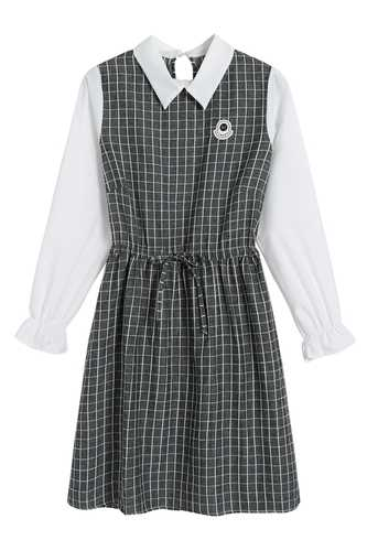 f22ae8a6b83 ... 2019 Mori Girl Spring Autumn Women Patchwork Dress Preppy Style Plaid  Cute School Uniform Cute Kawaii