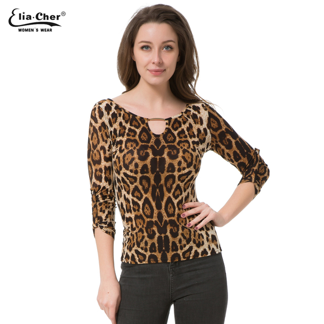 Blouse Women Tops 2017 Half Sleeve Women Shirt Elia Cher Plus Size Casual Women Clothing Lady Leopard Print Blouses Blusas 8231