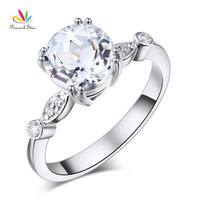 Peacock Star 14K White Gold Wedding Engagement Ring 2 Ct Topaz 0 07 Ct Natural Diamonds