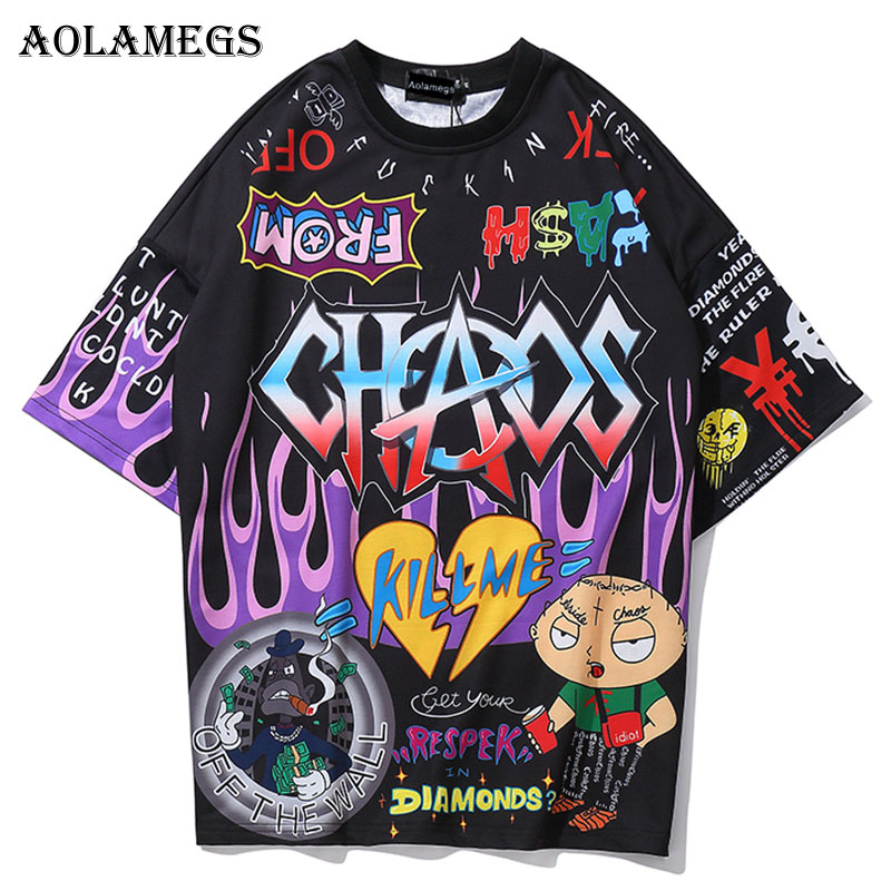 Aolamegs T Shirt Men Graffiti Cartoon Printed Men's Tee Shirts Short Sleeve T Shirt Fashion High Street Tees Summer Streetwear