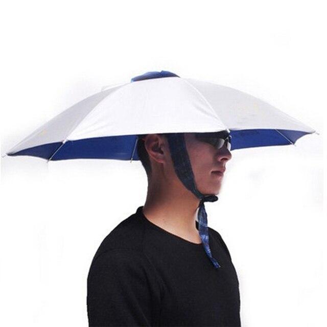 Umbrella Hat Rainproof Windproof Folding Adjustable UV Protection Hand Free Sun Rain Cap Fishing Headwear Unisex