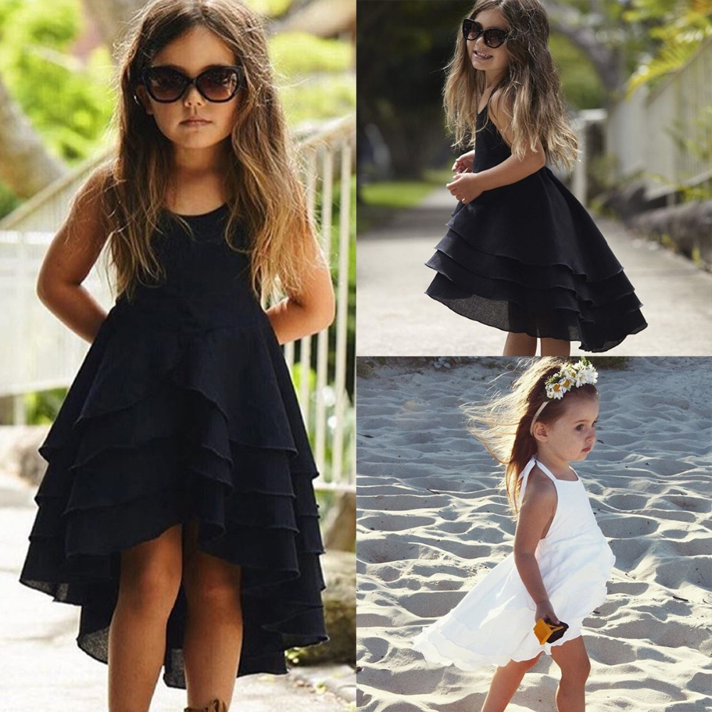 Kid Baby Girls Clothes Cute Girl Backless Strappy Solid Color Princess Dress Summer Casual Beach Sundress Children Clothing Set