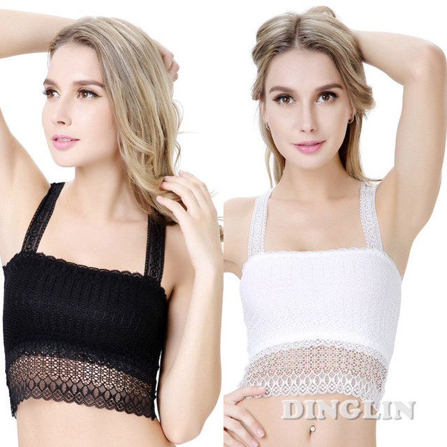 8adf65da114bf GZDL Sexy Women Crochet Lace Bustier Butterfly Floral Cropped Bra Body  Camisole Tube Tops Tank Corset Crop Top Chest Wrap BR5049