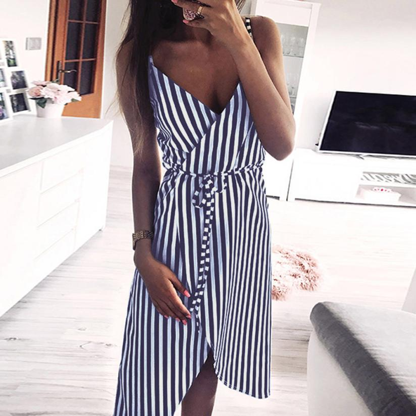 HTB138YCIkSWBuNjSszdq6zeSpXak KANCOOLD dress Women Stripe Printing Sleeveless Off Shoulder Dress Evening Party Vest Empire Sashes dress women 2018AUG1