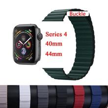 Leather loop band For apple watch strap correa apple watch 4 3 2 1 42mm iWatch 4 band 44mm 40mm 38mm Magnetic Closure bracelet цены