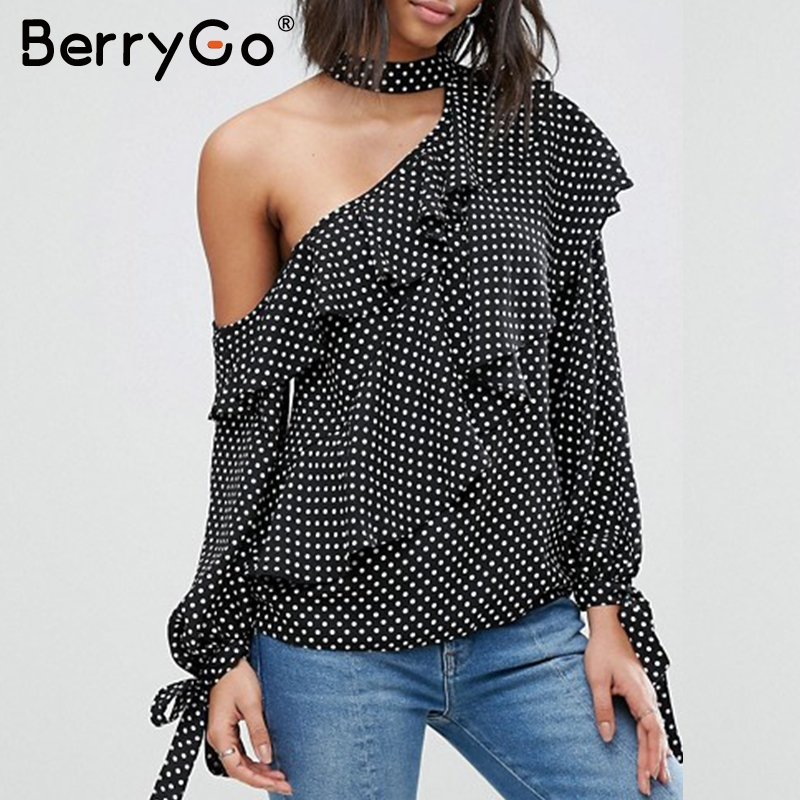 8897e47e80e BerryGo One shoulder polka dot blouse shirt Retro ruffle lantern sleeve  chiffon blouse Sexy summer bow women blouses 2018 | My Shop Name