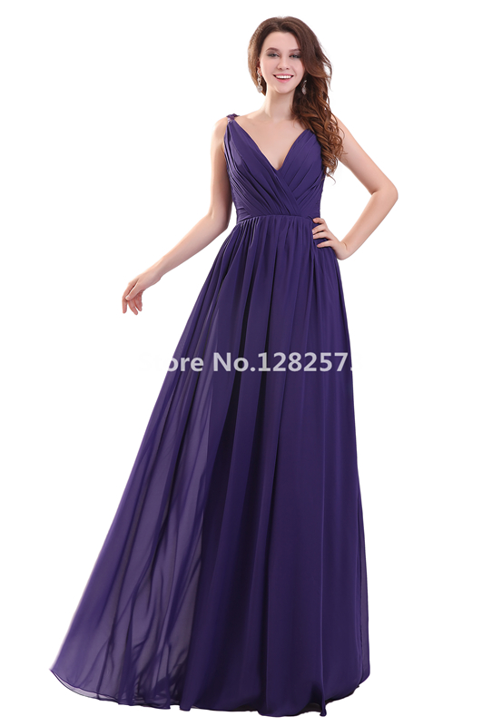 Blueviolet Cheap Simple Pleat Chiffon Bridesmaid Dresses V Neck Bridesmaid  Dress Long Formal Party Gowns Chic Women Gowns-in Bridesmaid Dresses from  ... bb905fda4ffb