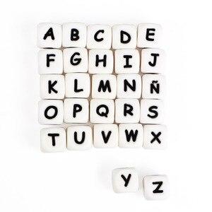 Image 4 - * 500 шт. силиконовые бусины с буквами, без БФА, Детские Прорезыватели с английским алфавитом, бусины для прорезывания зубов, для изготовления соски на цепочке, с индивидуальным именем