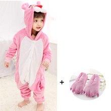 Kids Pink Panther Kigurumi Onesie  Animal Pajamas Baby Cartoon Slippers One-Piece Pyjamas Cosplay Children Jumpsuit Sleepwear