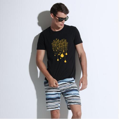 FL & AEVVE Marque Hommes de Mode T-shirt Drôle Imprimé À Manches Courtes T-shirt D'été Tops T-shirts O-cou Imprimer Lumière Ampoule blanc Noir NOUVEAU