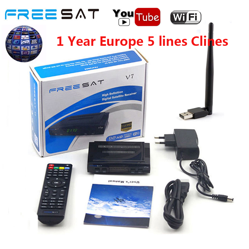 FREESAT V7 HD Receptor DVB-S2 Satellite TV Receiver Decoder With 5 LINES EUROPE CCcam + USB WIFI 1080P Portugal Spain TV