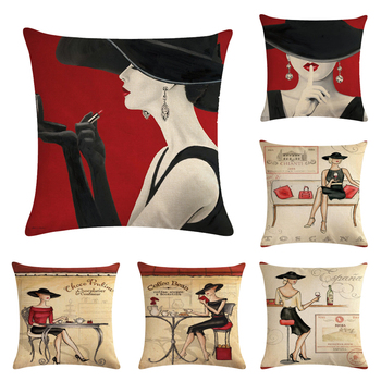 Fashion Woman Decorative Cushion Cover Cotton Linen Square Throw Pillow Cover 45x45CM Pillow Case Home Office Car Sofa Decor