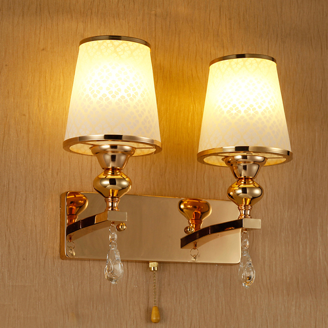 Bedroom Bedside Led Wall Lamps Modern Simple Gold Color Rose Crystal Light For