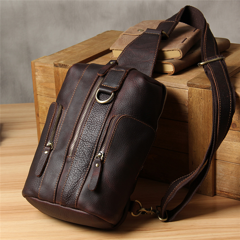 2018 Brand Handmade Cow Leather Men Chest Bag High Quality Vintage Classic Chest Pack Men Large Capacity Versatile Shoulder Bag