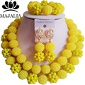 Trendy yellow Nigeria Wedding african beads jewelry set Crystal Plastic pearl necklace Bridal Jewelry Set Free shippin GG-446
