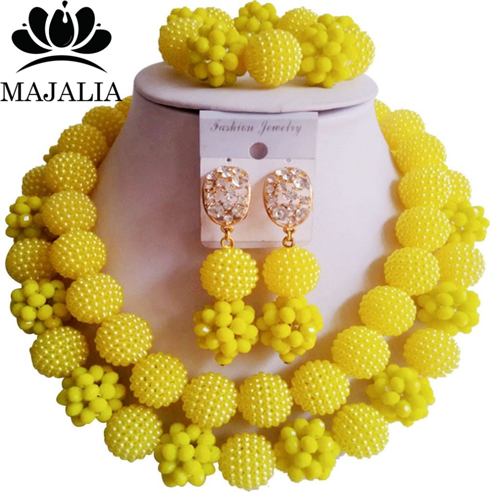 Fashion Nigeria Wedding African Beads Jewelry Set Yellow Crystal Plastic  Pearl Necklace Bridal Jewelry Sets Free