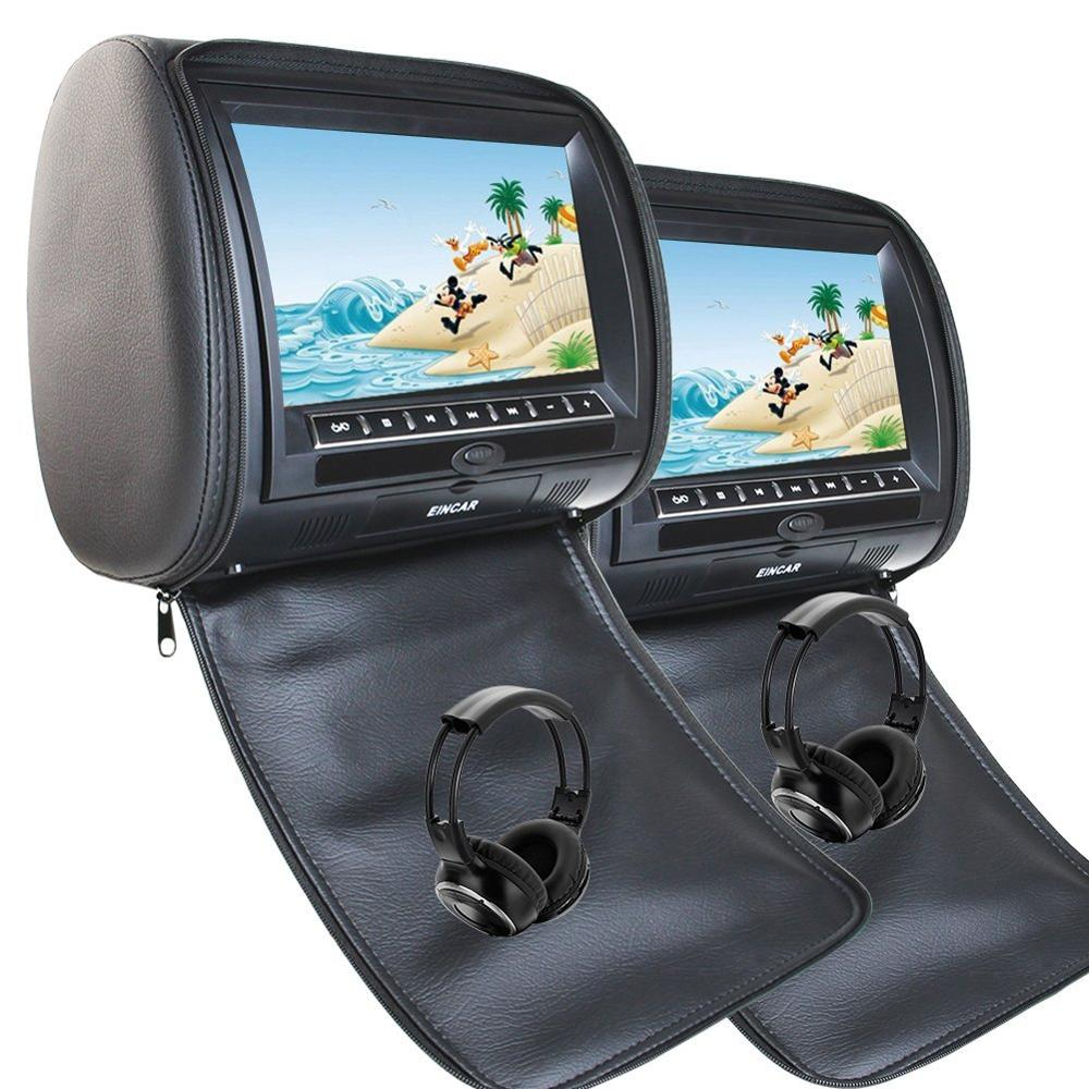 2x 9 Inch Leather Cover Car Headrest Monitor DVD Video Player TFT LCD Screen Support USB/SD/FM/Game/Speaker Wireless Headphone eincar car 9 inch car dvd pillow headrest two monitor lcd screen usb sd 32 bit game fm ir multimedia player free 2 ir headphones