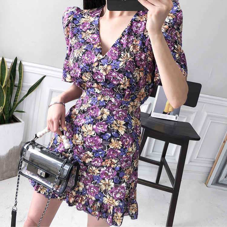 HTB138Z5Xf5G3KVjSZPxq6zI3XXam - Summer V-Neck Short Sleeves Floral Print Mini Dress