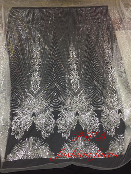 Nigerian African Sequins Lace Fabric 2019 Embroidered Nigerian Laces Fabrics High Quality French Tulle Lace Fabric For Women