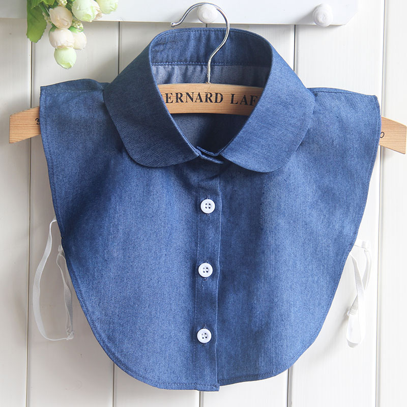 Peter Pan Fake Collar Female Denim Half Shirt Camisas Collar Removable Adult Ladies Peto Mujer Kraagje Nep Dames Faux Col Nep
