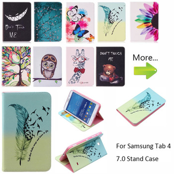 цена на Cartoon owl Flip Silicon Leather Case For Samsung Galaxy Tab 4 7.0 T230 T231 T235 SM-T230 Case Cover Tablet Funda Shell