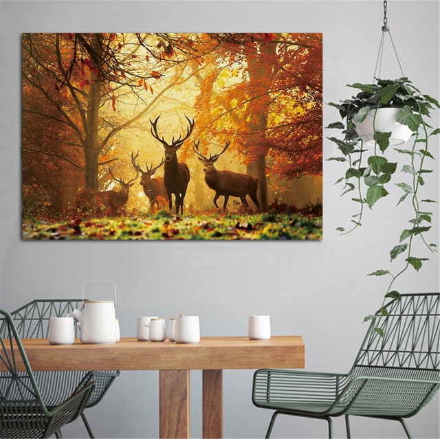 Autumn Forest Deer Canvas Poster