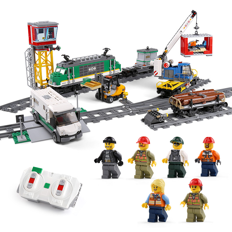 DHL 02118 City Train Compatible With 60198 Cargo Train With Motor Set Building Blocks Bricks Car