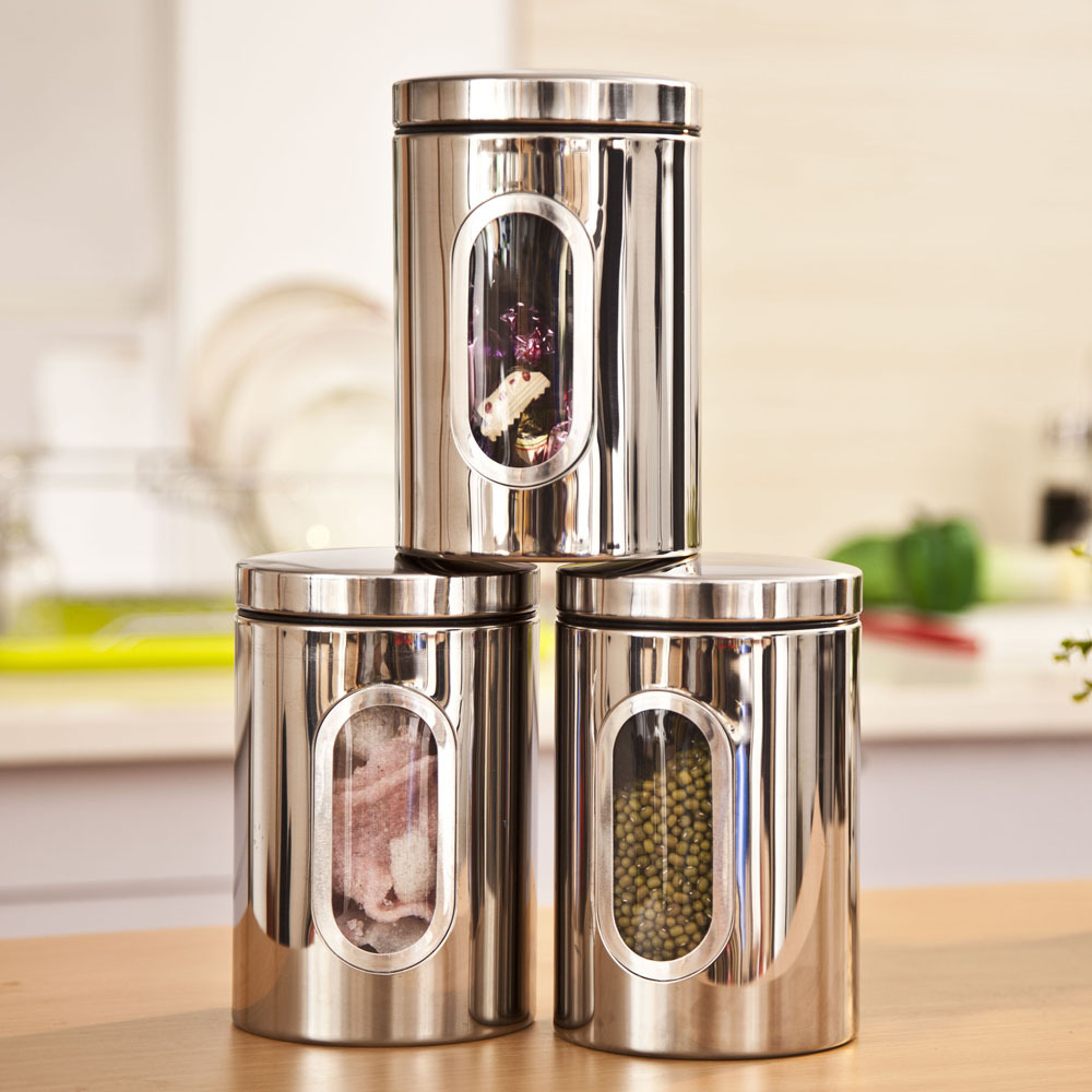 aliexpress com buy 3pcs stainless steel food storage canisters aliexpress com buy 3pcs stainless steel food storage canisters jars bottle set with glass window kitchen candy tea storage containers from reliable bottle