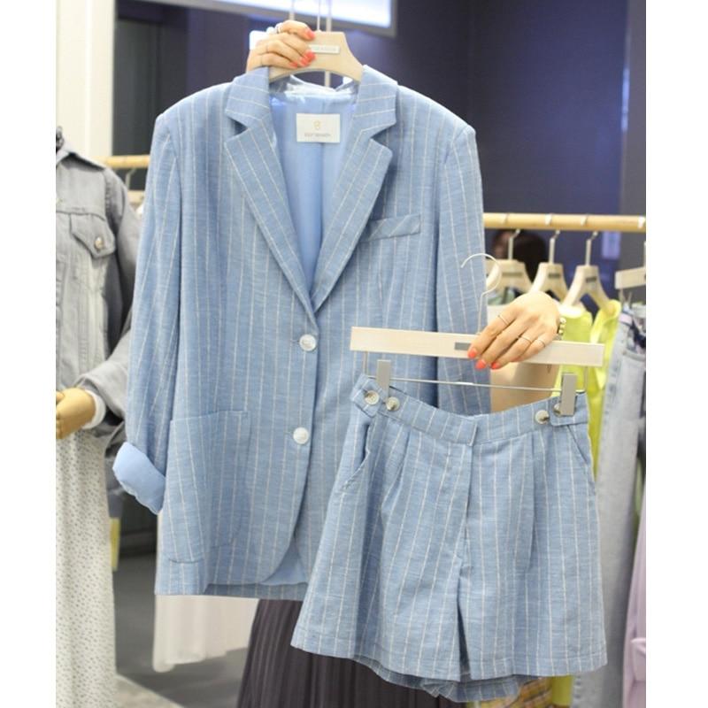 Shorts Féminin Été Pièce Loisirs Costume coréen Petit De Veste Nouvelle Mode Marée Lâche 1 3 2 Coton wgxwqn7RP