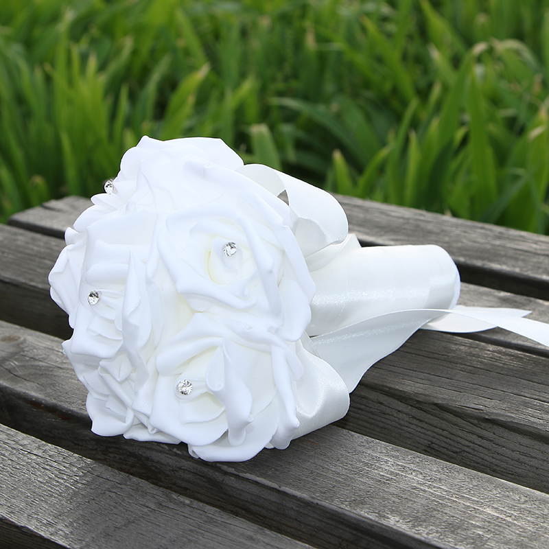 Wedding-Bouquet Ramos-De-Novia Ribbon-Flower Rose Handmade Artificial White With Bridal