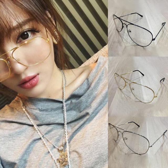 7e59290ab54 2018 Unisex Big Round Gold Metal Frame Glasses Oversize Clear lens Vintage  Retro Chic Eye Elegant Women Men Glasses