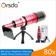 Buy Orsda High-end 80X Metal Telephoto Zoom Lens Telescope Mobile Phone Camera Lenses 3in1 Kit For iPhone 5s 6 7 Plus Android Lentes