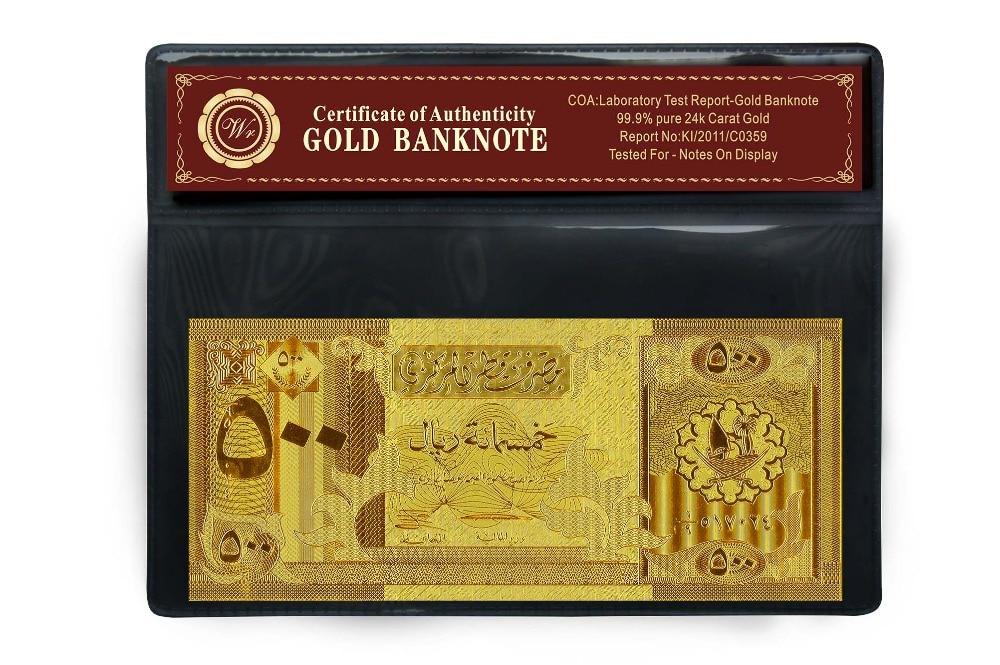 Qatar 500 Riyal Gold Banknote mit Goldbeschichtung und - Wohnkultur - Foto 3