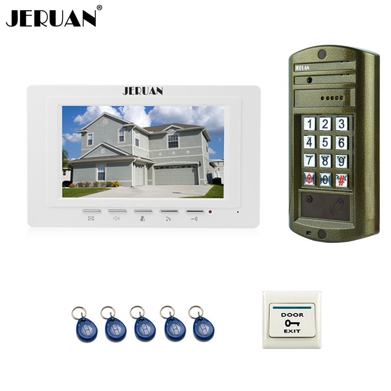 JERUAN 7`` Color LCD Video Door Phone Intercom System kit 1 White Monitor+ Metal waterproof password keypad HD Mini Camera jeruan home 7 inch video door phone intercom system kit new metal waterproof access password keypad hd mini camera 2 monitor
